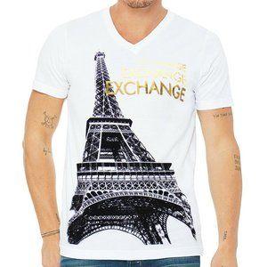 EXCHANGE PARIS TOWER EIFFEL WHITE V-NECK T-SHIRT